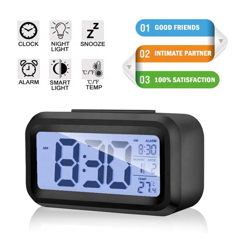 Promotional Multi-function ABS large digital LCD screen snooze table alarm clock with back light