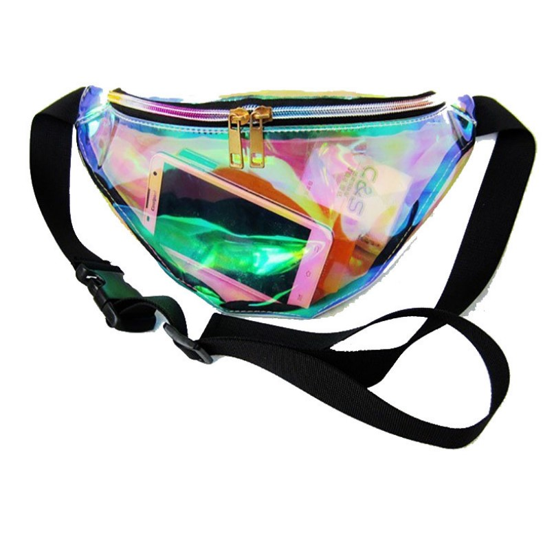 sport multi-function running messenger bag women men travel holographic clear fanny pack