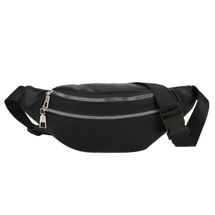 Amazon custom 2 pockets PU leather fanny pack women fashion bum bag