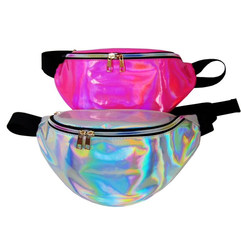 Outdoor sport Running Fitness color PU Holographic Laser Waist Bag reflective fanny pack