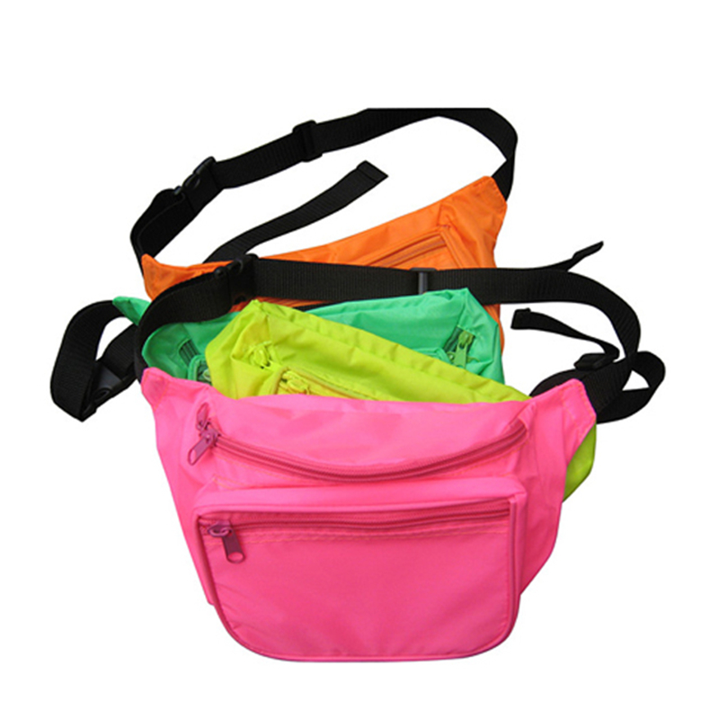Promo Print Logo Colorful Nylon Sport waist bag Neon fanny pack