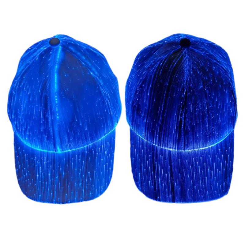 LED Baseball Cap 7 Colors Glow Hat Unisex DJ Light Up Rave Fiber Optic LED Hats