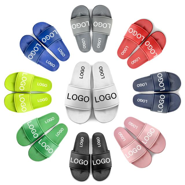 OEM Custom White Slides Footwear Sandal PVC,Custom Logo Slippers Men Plain Blank Slide Sandal