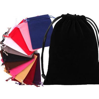 custom designed logo colored velvet gift sack drawstring jewelry pouch velvet bag