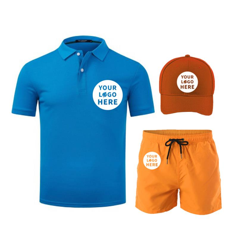 Promotional Gift Sets Custom Logo Men Women Cap Polo Shorts Apparel Summer Clothing Clothes Set