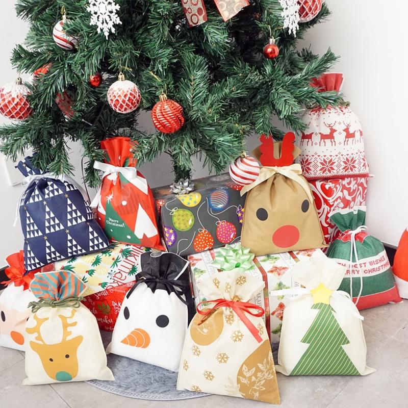 Promotion Gift Christmas Non Woven Bag String Bag With Ribbon