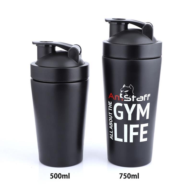 500ml 750ml stainless steel protein shaker bottle