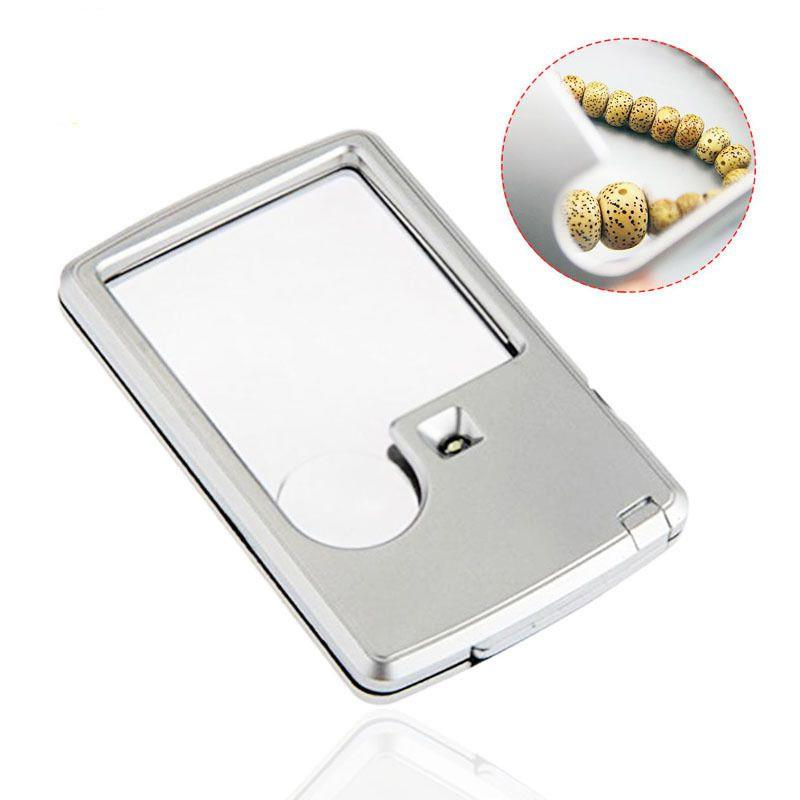 Mini Card Shape Glass Reading Magnifier 3X 6X Magnifying with LED Light