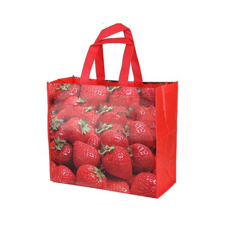 Custom laminated biodegradable PP woven groceries sublimation shopping bag