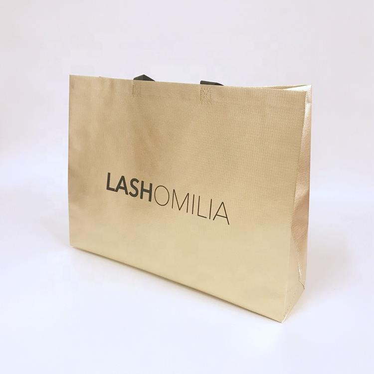 custom printing gold metallic non woven shopping bag reusable shopping bags