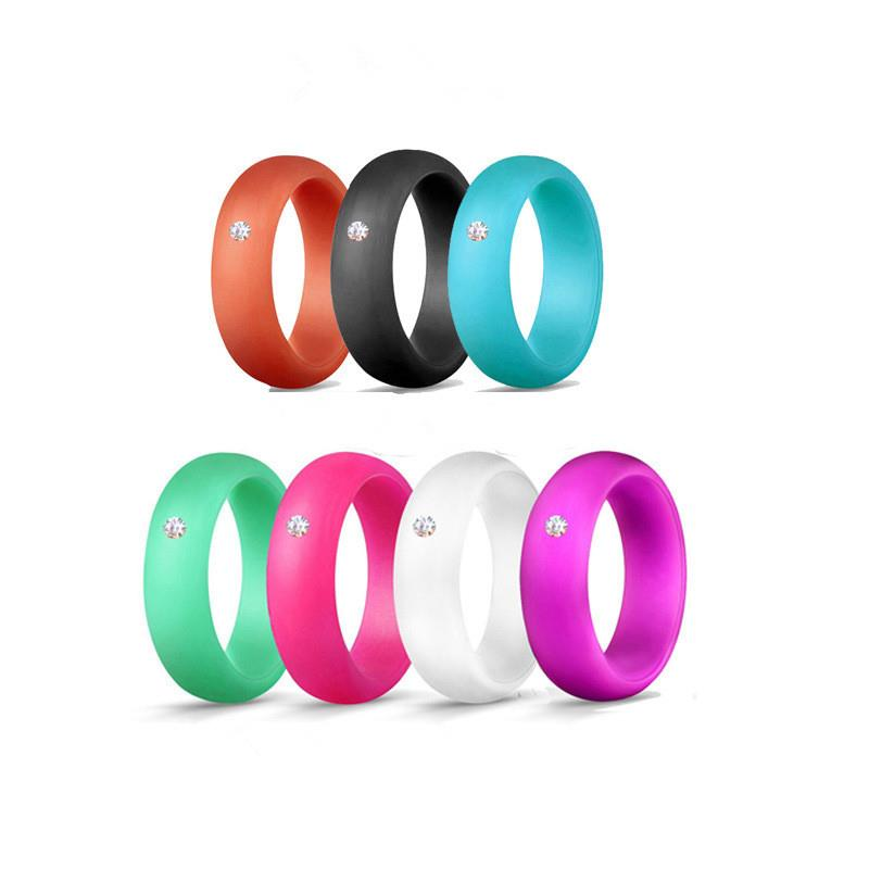 Zircon Silicone Ring Rubber Wedding Bands Sports Finger Ring For Women