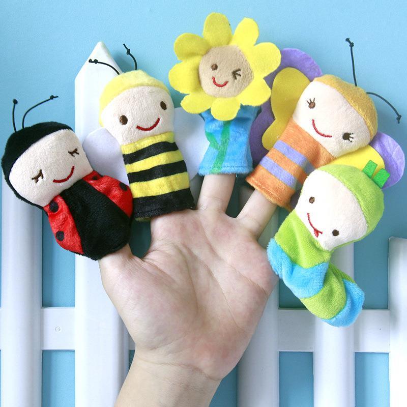 Lovely custom animal bee plush finger puppets