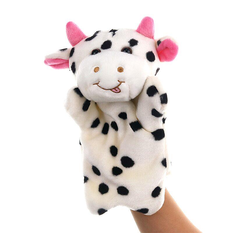 custom plush cow hand puppet toys