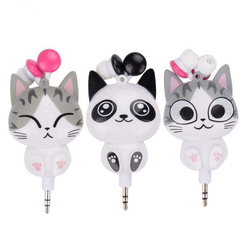 cute kids cartoon cat wired in-ear earphones for girls