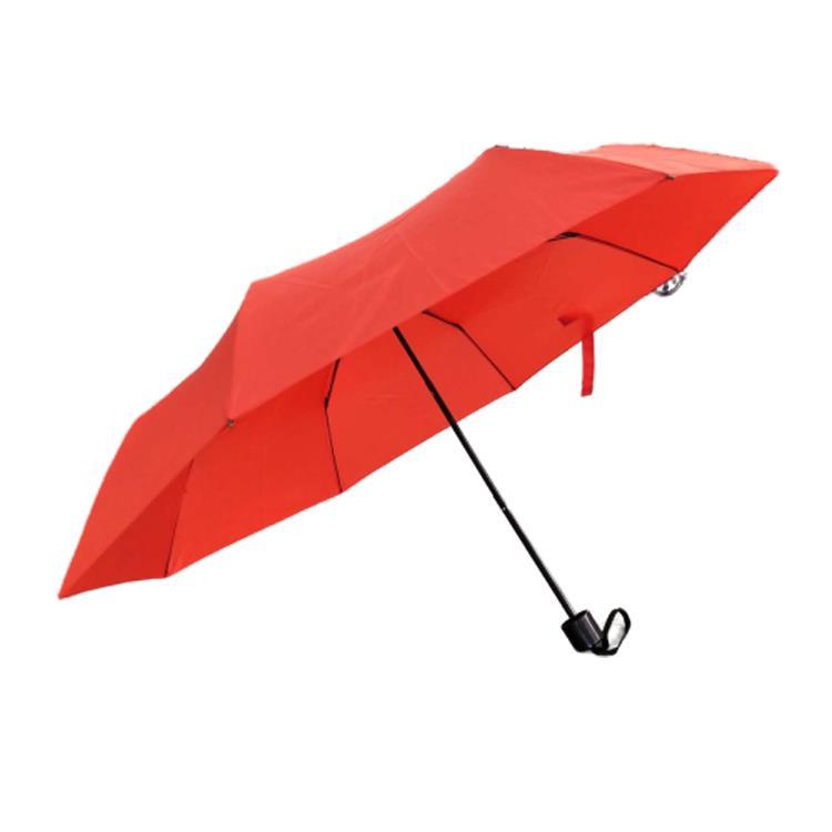 Triple folding travel-size umbrella