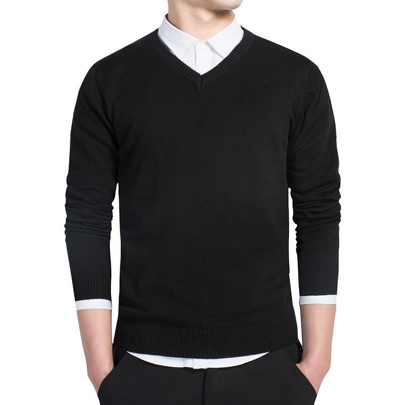 men's hood formal knitted basic v neck sweater men