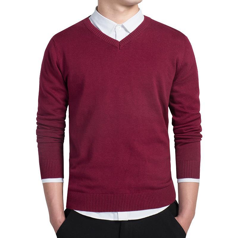 Cotton Men's V Neck Long Sleeve Knit Shirts Casula Knitwear
