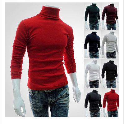 Mens Long Sleeve Plain High Collar Sweater Pullover turtleneck men
