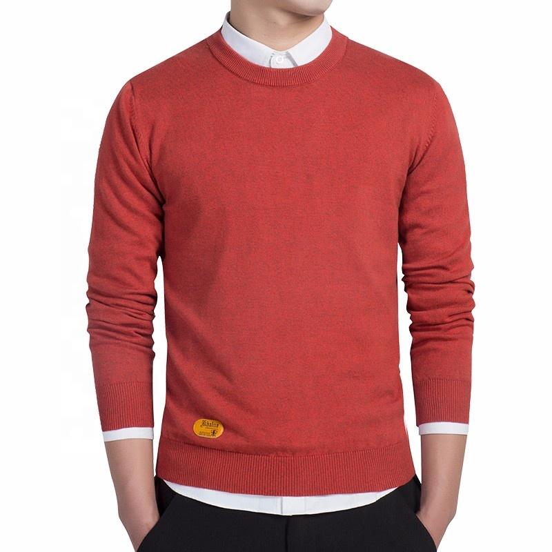 Wholesale Male Cheap Plain Blank Crewneck Orange Hombre Sweater