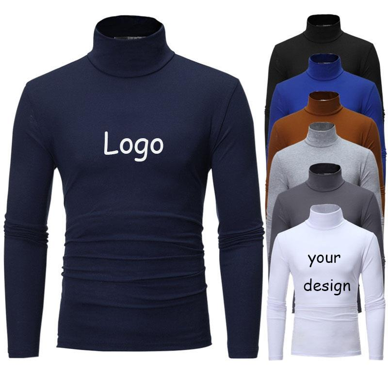 T-shirt Long Sleeve High Collar Slim-fit Knitted Cardigan Men's Sweater