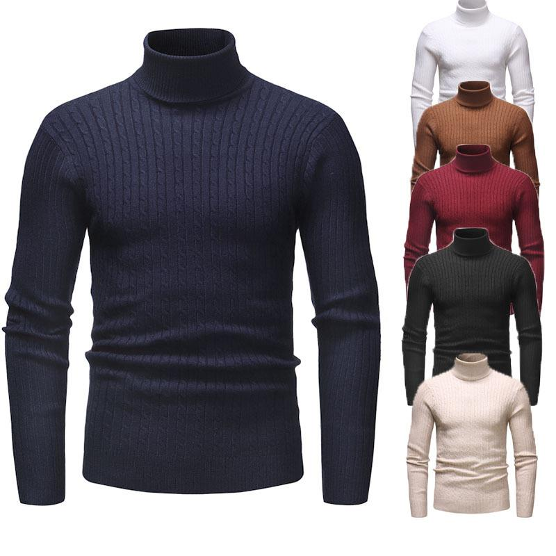 three-color high-neck basic pullover men's sweater