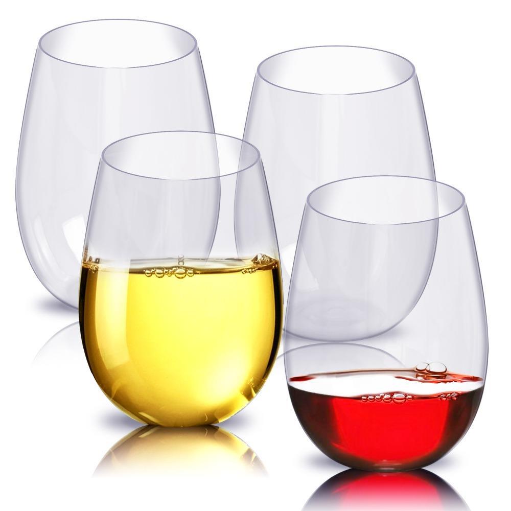 Amazon top seller 100% Tritan Stemless Dishwasher safe Plastic Wine Glasses
